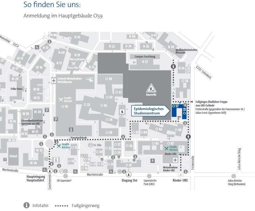 Lageplan Epidemiologisches Studienzentrum